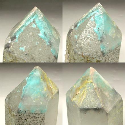 青緑色のアホー石が水晶内に取り込まれています