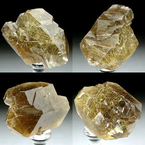 金色のルチルを内包する平行連晶の煙水晶
