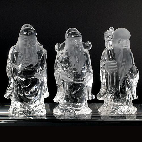 福禄寿3体の水晶彫刻