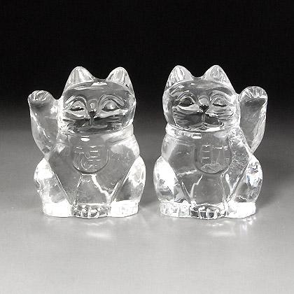 水晶彫刻招き猫