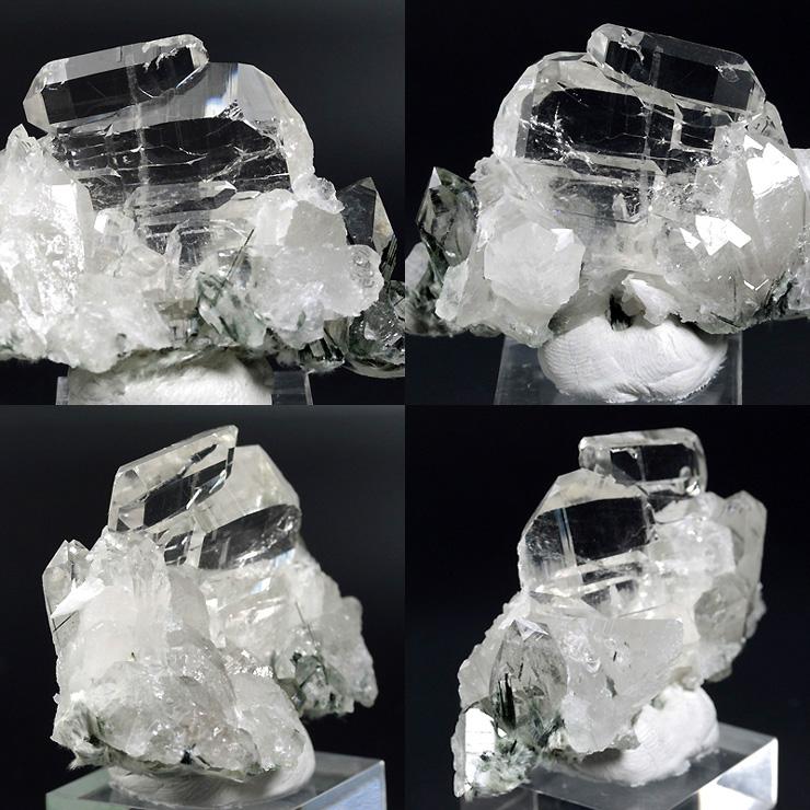 透明度の高いファーデン水晶となった平行連晶が特徴的