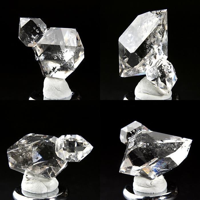 ふたつの結晶が結合した形状のハーキマー水晶