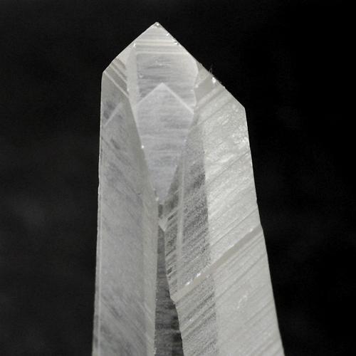結晶の内部に木の年輪のように山型のインクルージョンが入っています